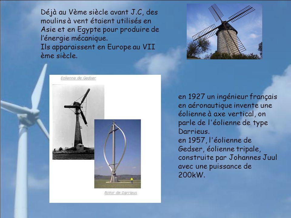 Déjà au Vème siècle avant J.C, des moulins à vent étaient utilisés en Asie et en Egypte pour produire de lénergie mécanique.