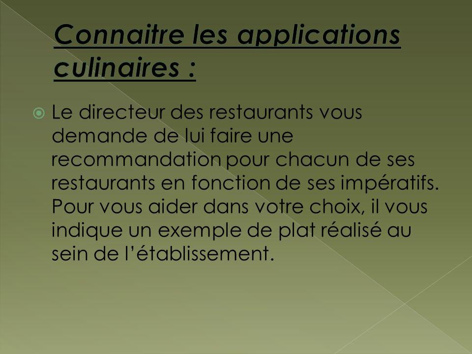 Le directeur des restaurants vous demande de lui faire une recommandation pour chacun de ses restaurants en fonction de ses impératifs. Pour vous aide