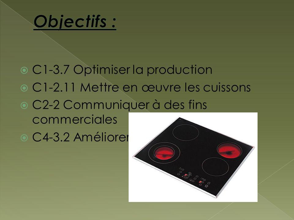 C1-3.7 Optimiser la production C1-2.11 Mettre en œuvre les cuissons C2-2 Communiquer à des fins commerciales C4-3.2 Améliorer la productivité