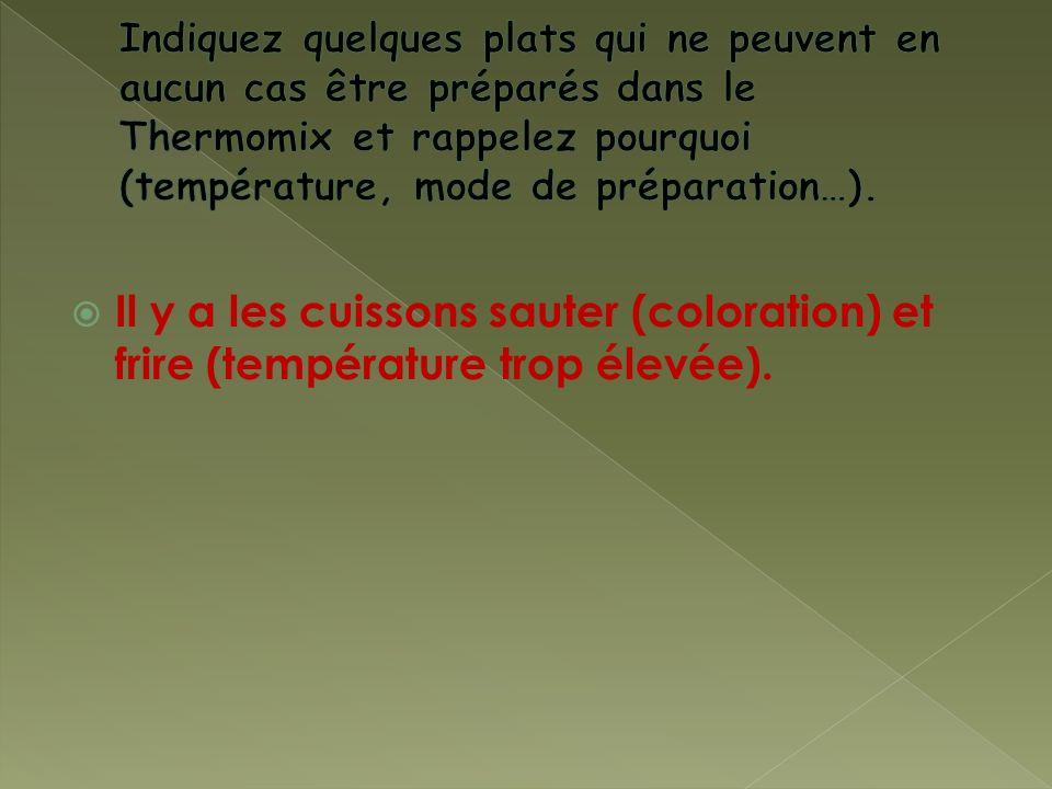 Il y a les cuissons sauter (coloration) et frire (température trop élevée).
