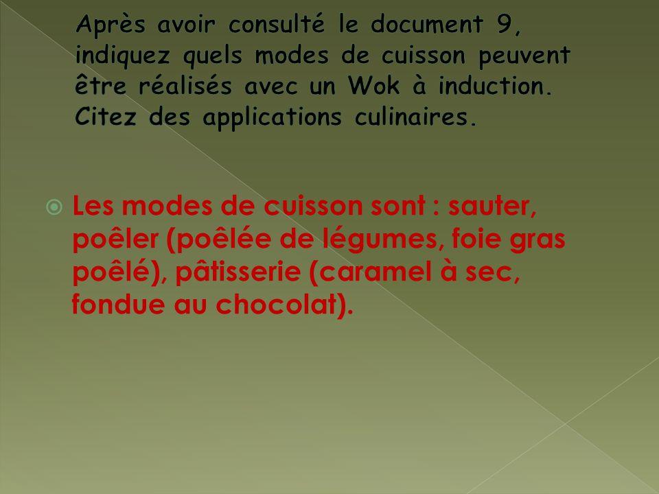 Les modes de cuisson sont : sauter, poêler (poêlée de légumes, foie gras poêlé), pâtisserie (caramel à sec, fondue au chocolat).