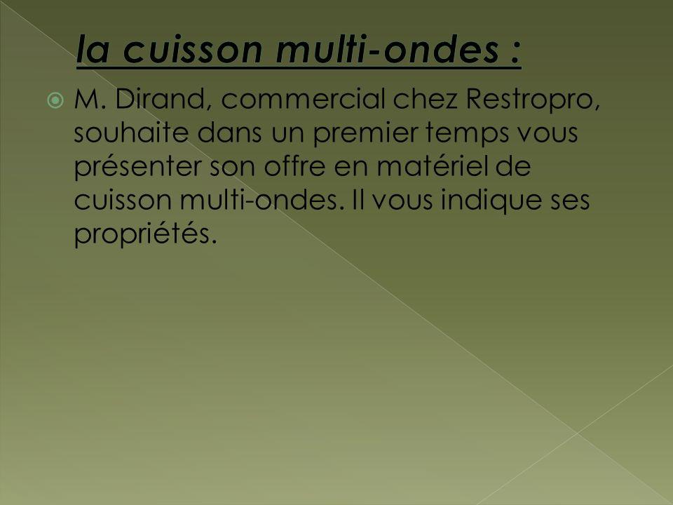 M. Dirand, commercial chez Restropro, souhaite dans un premier temps vous présenter son offre en matériel de cuisson multi-ondes. Il vous indique ses