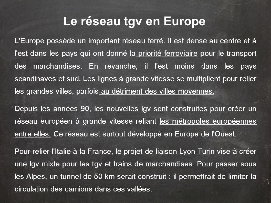 L'Europe possède un important réseau ferré. Il est dense au centre et à l'est dans les pays qui ont donné la priorité ferroviaire pour le transport de