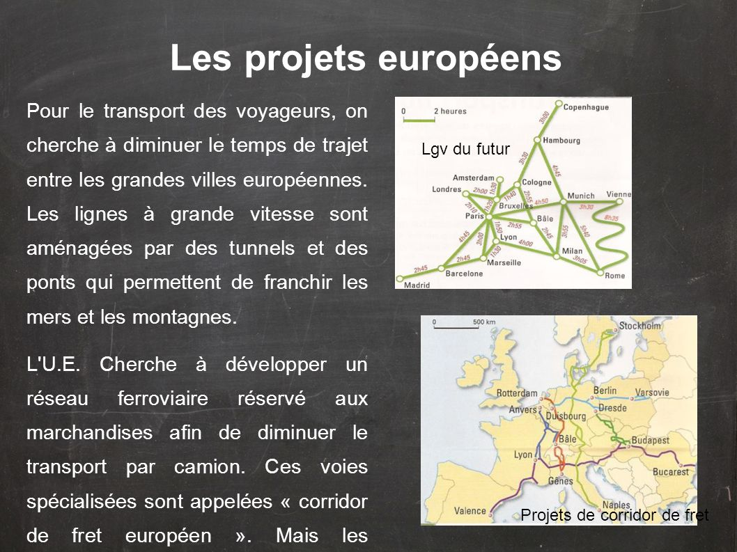 Les projets européens Pour le transport des voyageurs, on cherche à diminuer le temps de trajet entre les grandes villes européennes. Les lignes à gra