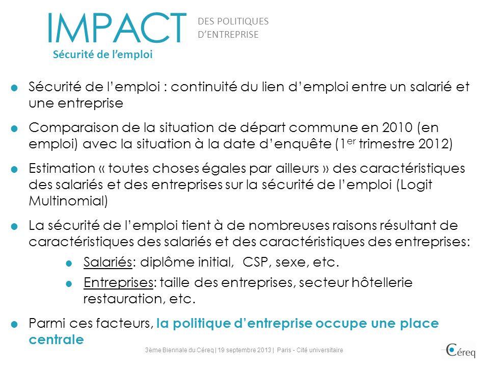 Sécurité de lemploi : continuité du lien demploi entre un salarié et une entreprise Comparaison de la situation de départ commune en 2010 (en emploi)