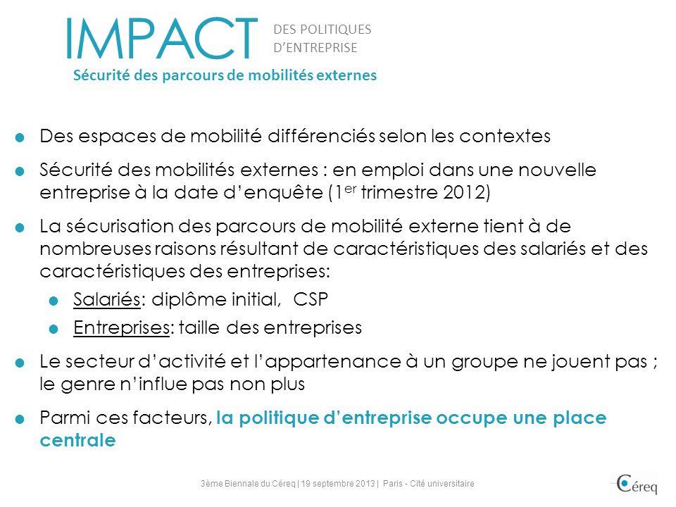 Des espaces de mobilité différenciés selon les contextes Sécurité des mobilités externes : en emploi dans une nouvelle entreprise à la date denquête (