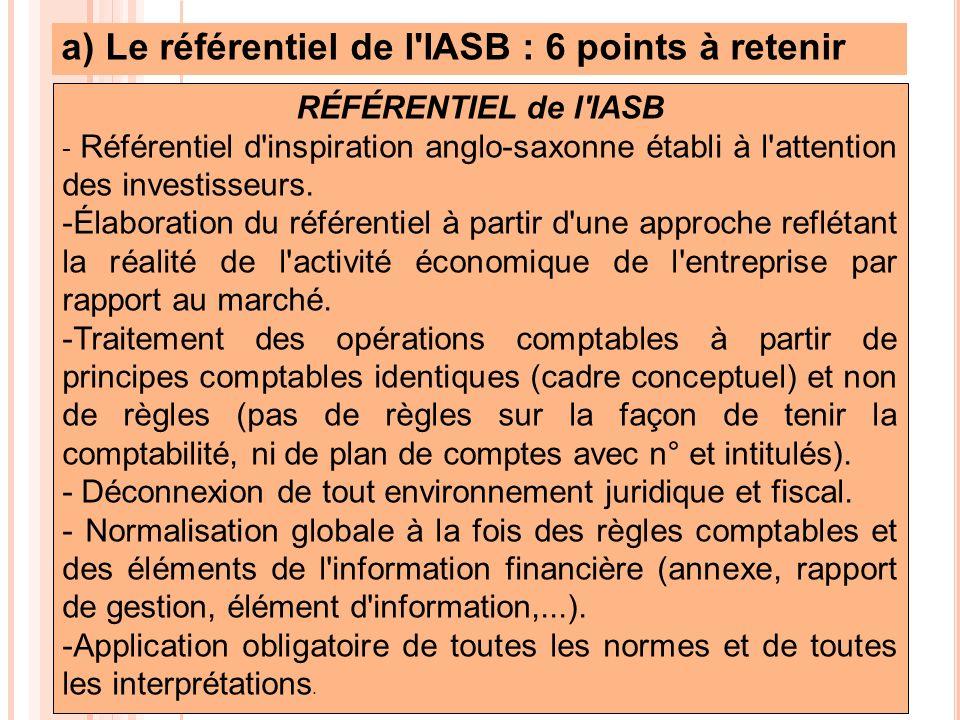 a) Le référentiel de l'IASB : 6 points à retenir RÉFÉRENTIEL de l'IASB - Référentiel d'inspiration anglo-saxonne établi à l'attention des investisseur
