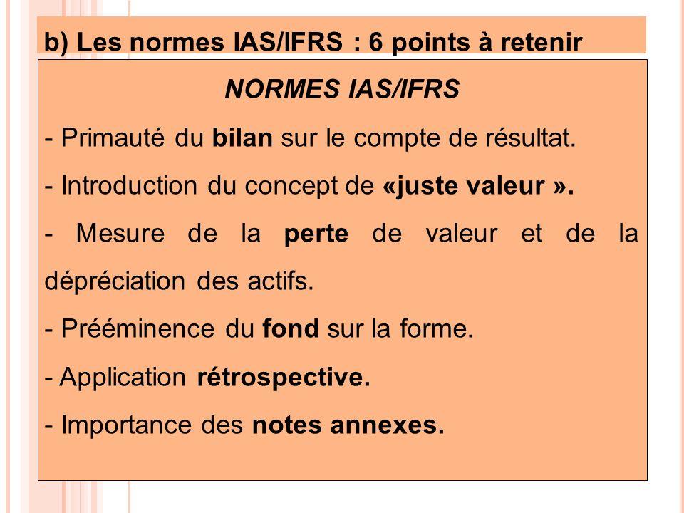 b) Les normes IAS/IFRS : 6 points à retenir NORMES IAS/IFRS - Primauté du bilan sur le compte de résultat. - Introduction du concept de «juste valeur