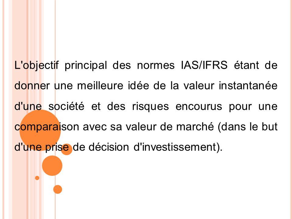 L'objectif principal des normes IAS/IFRS étant de donner une meilleure idée de la valeur instantanée d'une société et des risques encourus pour une co