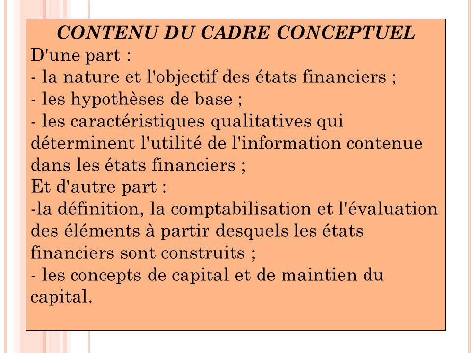 CONTENU DU CADRE CONCEPTUEL D'une part : - la nature et l'objectif des états financiers ; - les hypothèses de base ; - les caractéristiques qualitativ