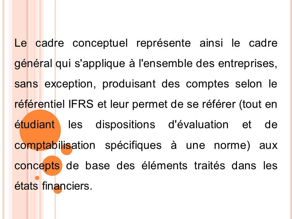 Le cadre conceptuel représente ainsi le cadre général qui s'applique à l'ensemble des entreprises, sans exception, produisant des comptes selon le réf