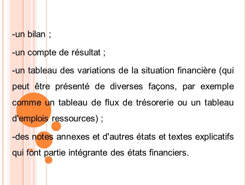 -un bilan ; -un compte de résultat ; -un tableau des variations de la situation financière (qui peut être présenté de diverses façons, par exemple com
