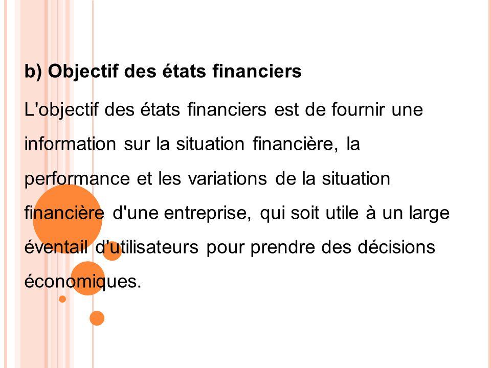 b) Objectif des états financiers L'objectif des états financiers est de fournir une information sur la situation financière, la performance et les var