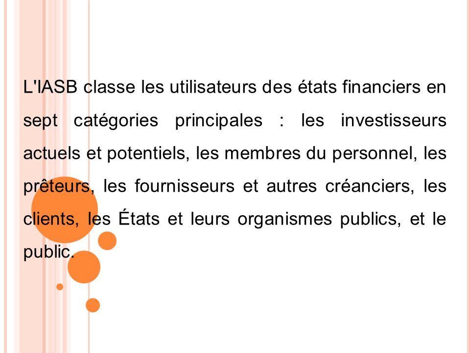 L'IASB classe les utilisateurs des états financiers en sept catégories principales : les investisseurs actuels et potentiels, les membres du personnel