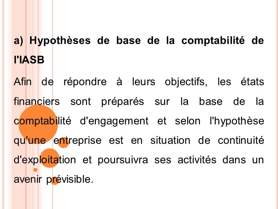 a) Hypothèses de base de la comptabilité de l'IASB Afin de répondre à leurs objectifs, les états financiers sont préparés sur la base de la comptabili