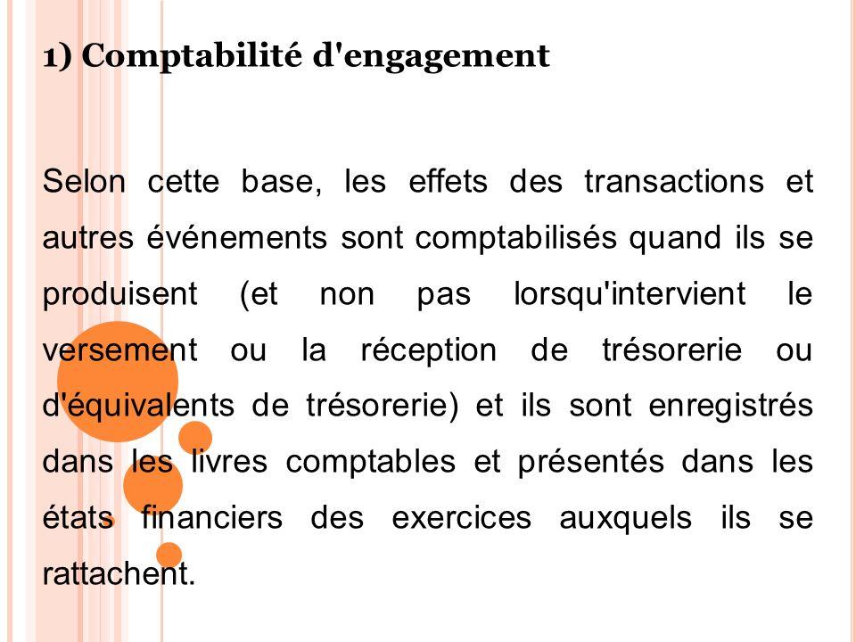 1) Comptabilité d'engagement Selon cette base, les effets des transactions et autres événements sont comptabilisés quand ils se produisent (et non pas