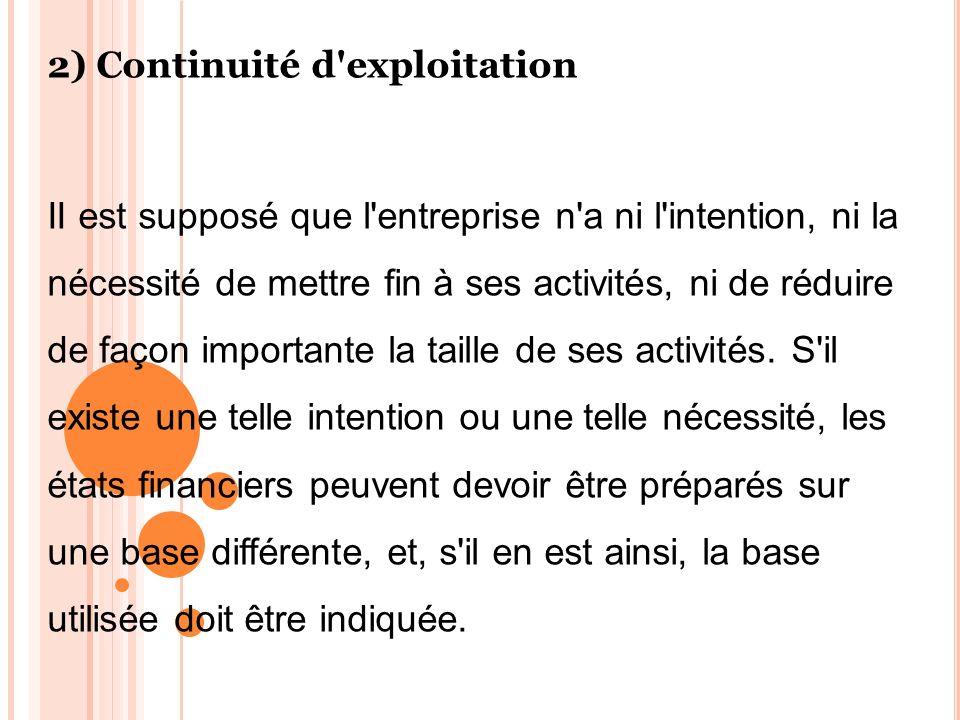 2) Continuité d'exploitation II est supposé que l'entreprise n'a ni l'intention, ni la nécessité de mettre fin à ses activités, ni de réduire de façon
