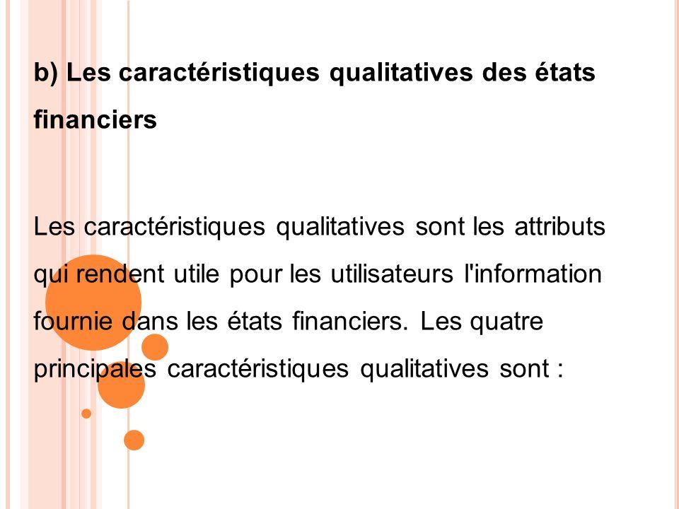 b) Les caractéristiques qualitatives des états financiers Les caractéristiques qualitatives sont les attributs qui rendent utile pour les utilisateurs