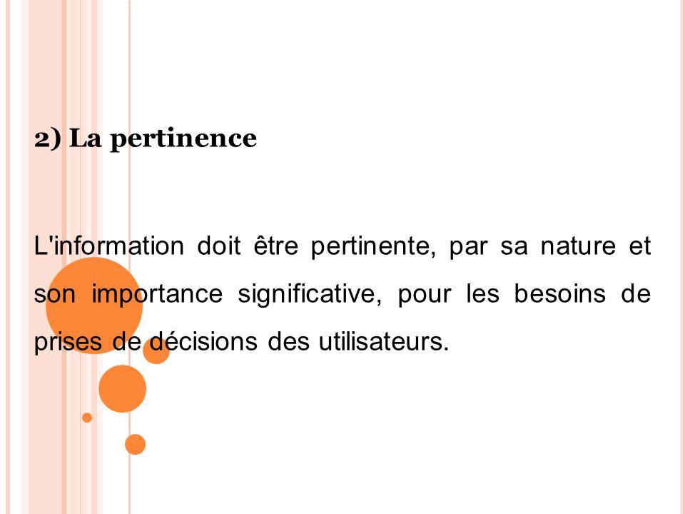 2) La pertinence L'information doit être pertinente, par sa nature et son importance significative, pour les besoins de prises de décisions des utilis