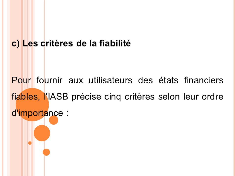 c) Les critères de la fiabilité Pour fournir aux utilisateurs des états financiers fiables, l'IASB précise cinq critères selon leur ordre d'importance
