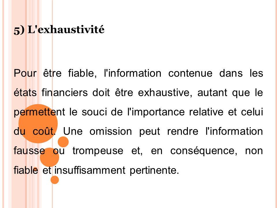 5) L'exhaustivité Pour être fiable, l'information contenue dans les états financiers doit être exhaustive, autant que le permettent le souci de l'impo