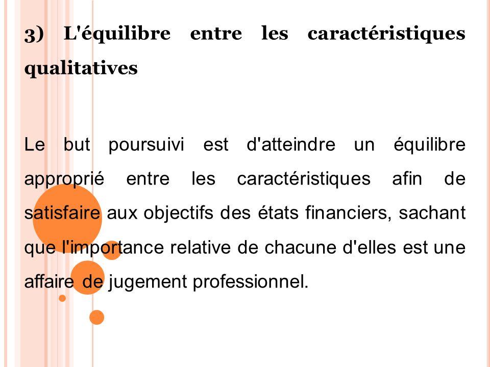 3) L'équilibre entre les caractéristiques qualitatives Le but poursuivi est d'atteindre un équilibre approprié entre les caractéristiques afin de sati