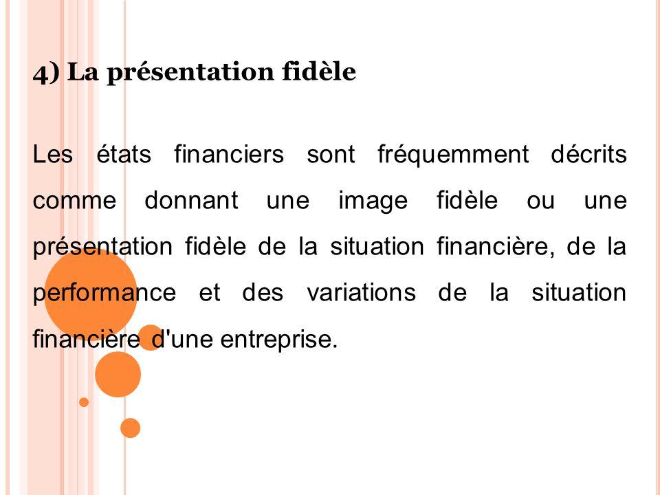 4) La présentation fidèle Les états financiers sont fréquemment décrits comme donnant une image fidèle ou une présentation fidèle de la situation fina