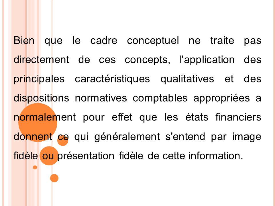 Bien que le cadre conceptuel ne traite pas directement de ces concepts, l'application des principales caractéristiques qualitatives et des disposition