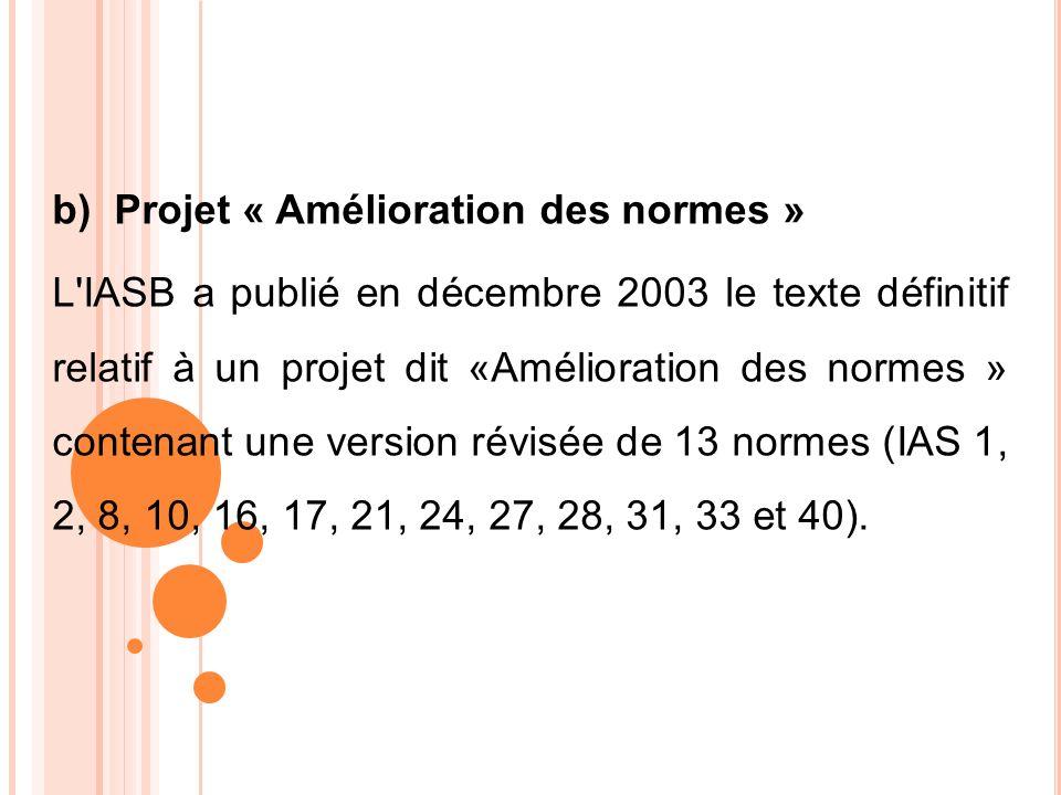 b) Projet « Amélioration des normes » L'IASB a publié en décembre 2003 le texte définitif relatif à un projet dit «Amélioration des normes » contenant