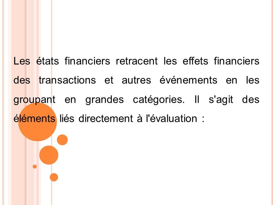 Les états financiers retracent les effets financiers des transactions et autres événements en les groupant en grandes catégories. Il s'agit des élémen