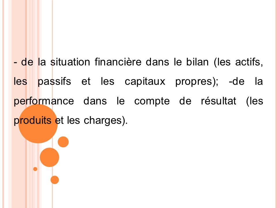 - de la situation financière dans le bilan (les actifs, les passifs et les capitaux propres); -de la performance dans le compte de résultat (les produ