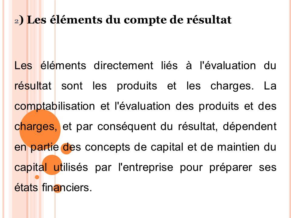 2 ) Les éléments du compte de résultat Les éléments directement liés à l'évaluation du résultat sont les produits et les charges. La comptabilisation
