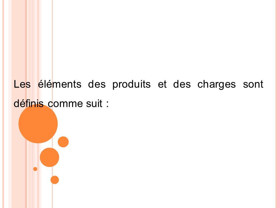 Les éléments des produits et des charges sont définis comme suit :