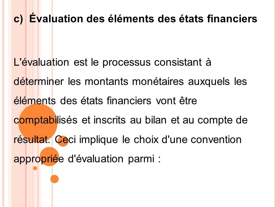 c) Évaluation des éléments des états financiers L'évaluation est le processus consistant à déterminer les montants monétaires auxquels les éléments de