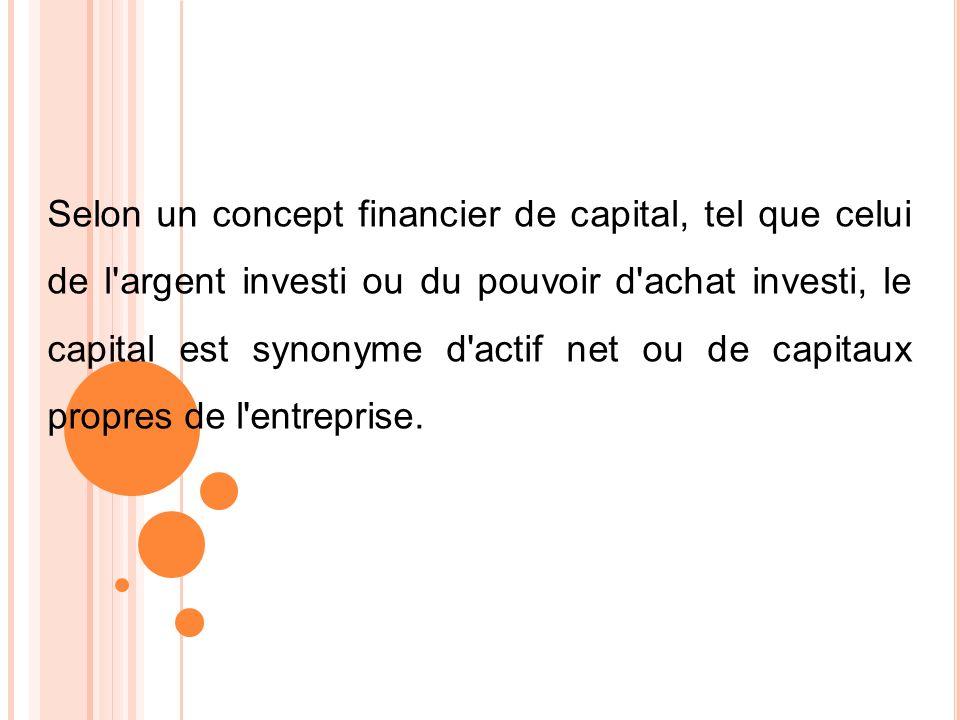 Selon un concept financier de capital, tel que celui de l'argent investi ou du pouvoir d'achat investi, le capital est synonyme d'actif net ou de capi
