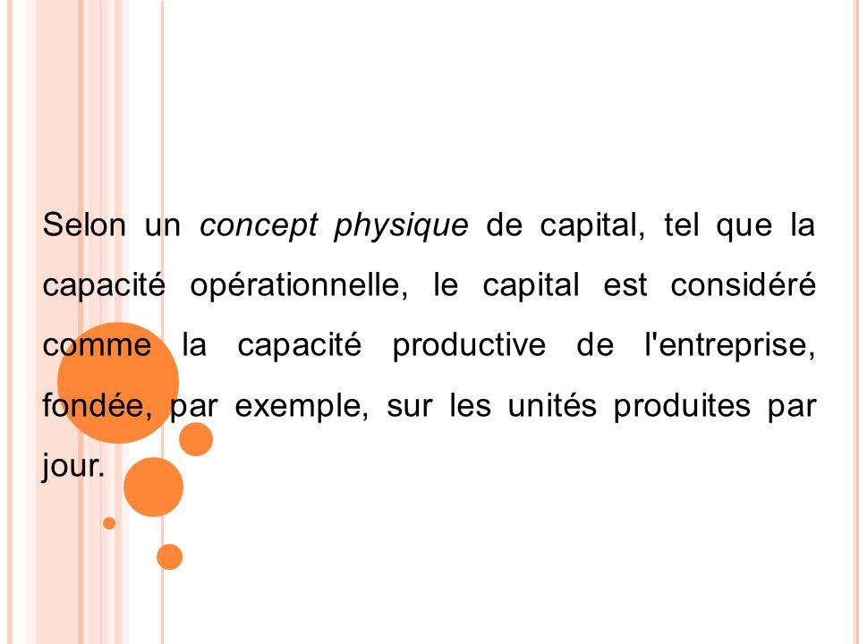 Selon un concept physique de capital, tel que la capacité opérationnelle, le capital est considéré comme la capacité productive de l'entreprise, fondé