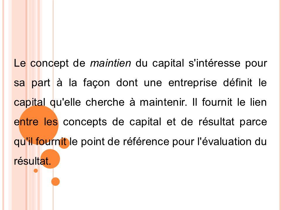 Le concept de maintien du capital s'intéresse pour sa part à la façon dont une entreprise définit le capital qu'elle cherche à maintenir. Il fournit l