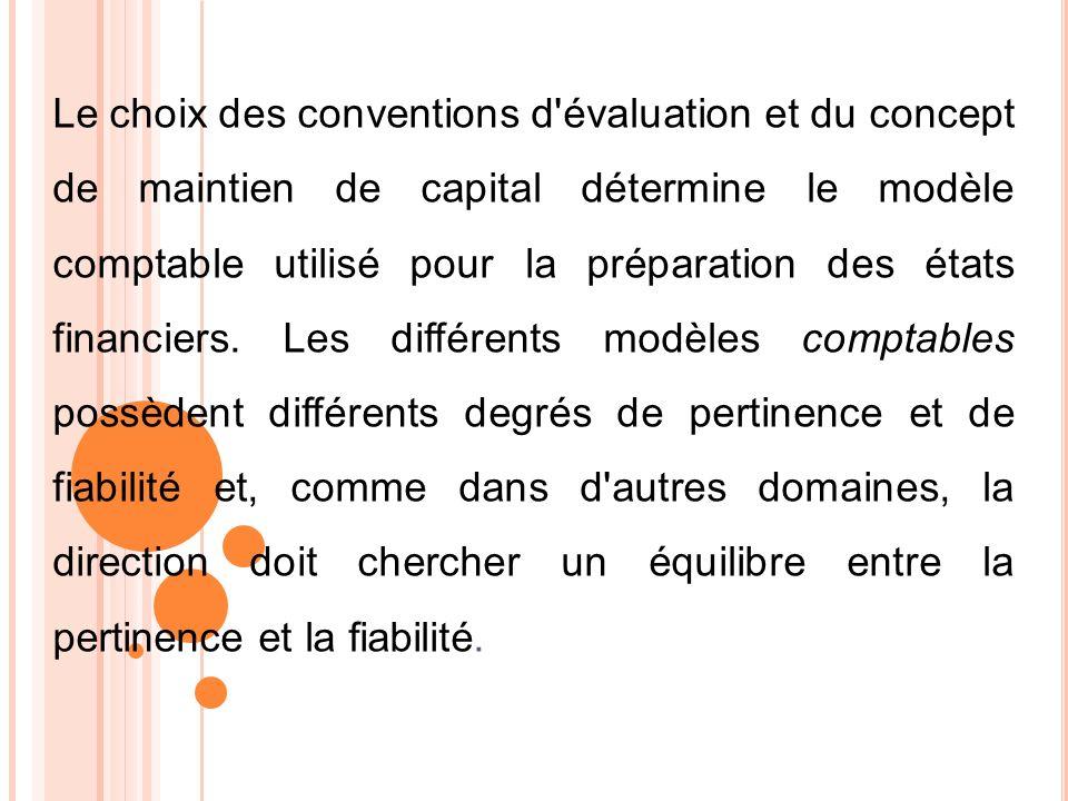 Le choix des conventions d'évaluation et du concept de maintien de capital détermine le modèle comptable utilisé pour la préparation des états financi