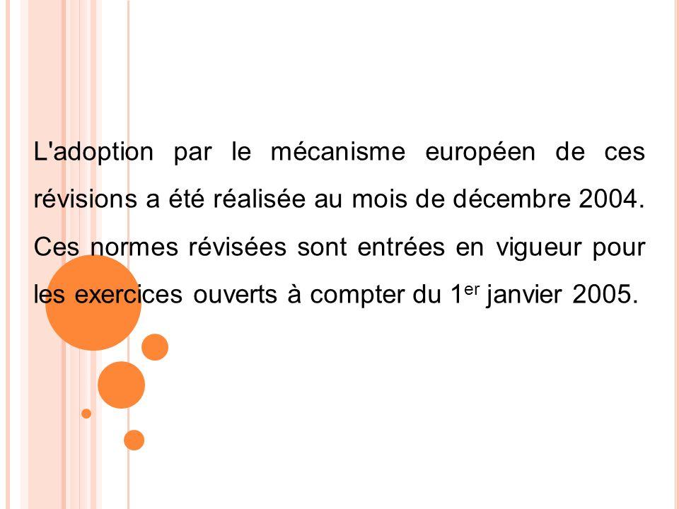 L'adoption par le mécanisme européen de ces révisions a été réalisée au mois de décembre 2004. Ces normes révisées sont entrées en vigueur pour les ex