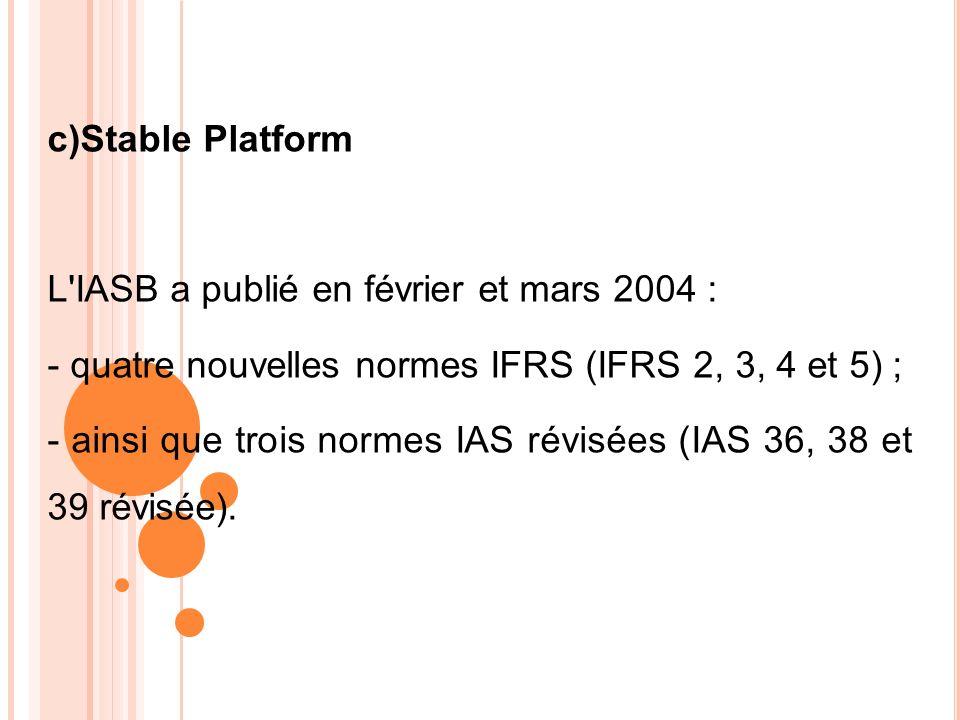 c)Stable Platform L'IASB a publié en février et mars 2004 : - quatre nouvelles normes IFRS (IFRS 2, 3, 4 et 5) ; - ainsi que trois normes IAS révisées