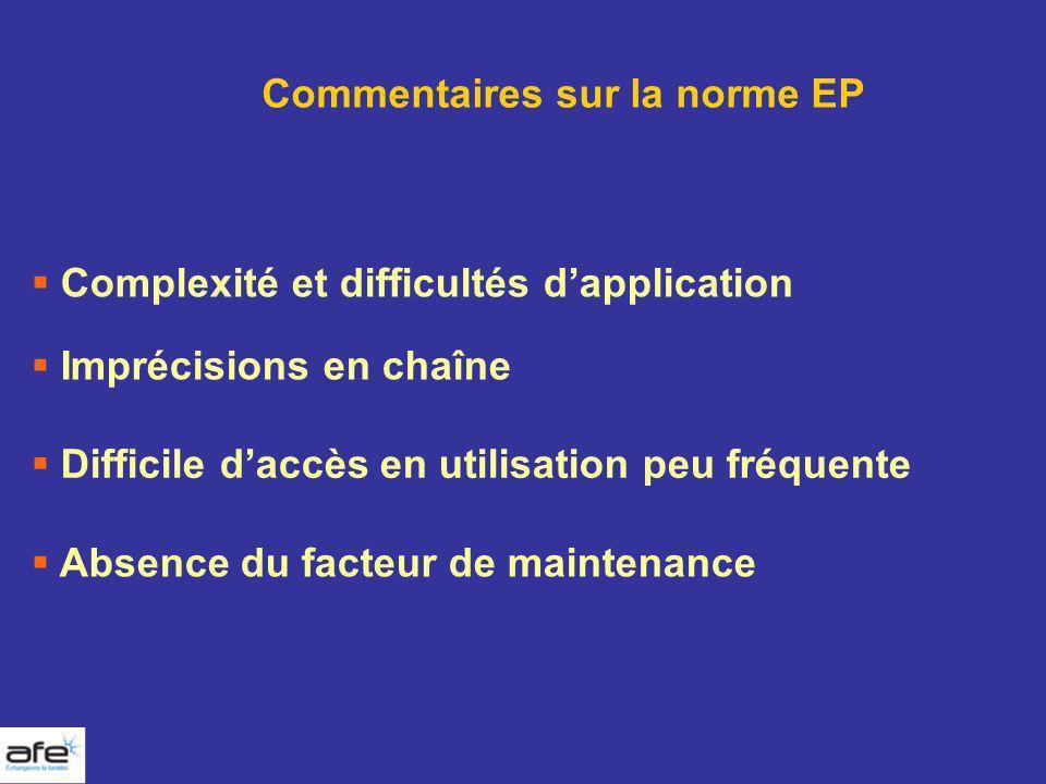 Complexité et difficultés dapplication Commentaires sur la norme EP Absence du facteur de maintenance Imprécisions en chaîne Difficile daccès en utili