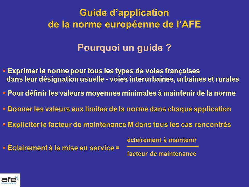 éclairement à maintenir Éclairement à la mise en service = facteur de maintenance Guide dapplication de la norme européenne de lAFE Pourquoi un guide