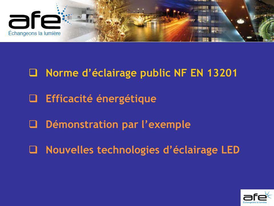 Norme déclairage public NF EN 13201 Efficacité énergétique Démonstration par lexemple Nouvelles technologies déclairage LED