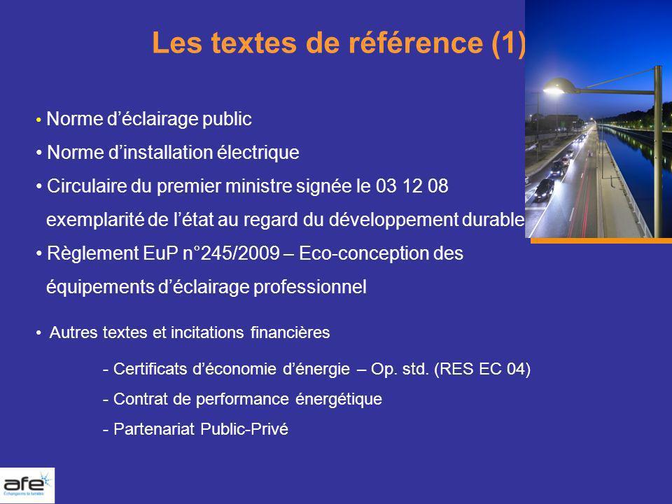 Les textes de référence (1) Norme déclairage public Norme dinstallation électrique Circulaire du premier ministre signée le 03 12 08 exemplarité de lé