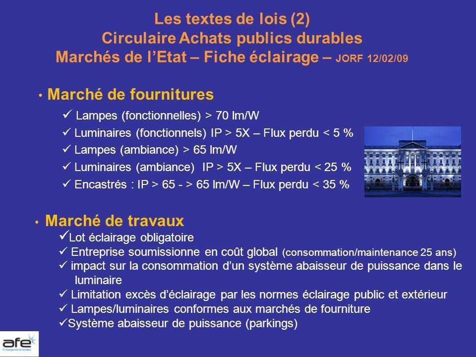 Les textes de lois (2) Circulaire Achats publics durables Marchés de lEtat – Fiche éclairage – JORF 12/02/09 Marché de fournitures Lampes (fonctionnel