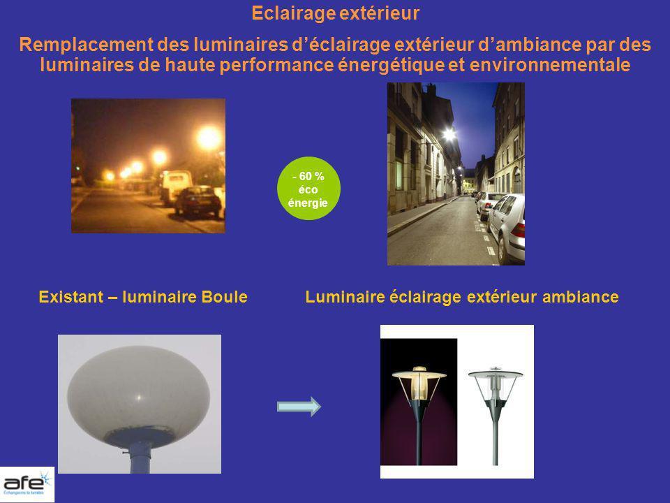 Eclairage extérieur Remplacement des luminaires déclairage extérieur dambiance par des luminaires de haute performance énergétique et environnementale