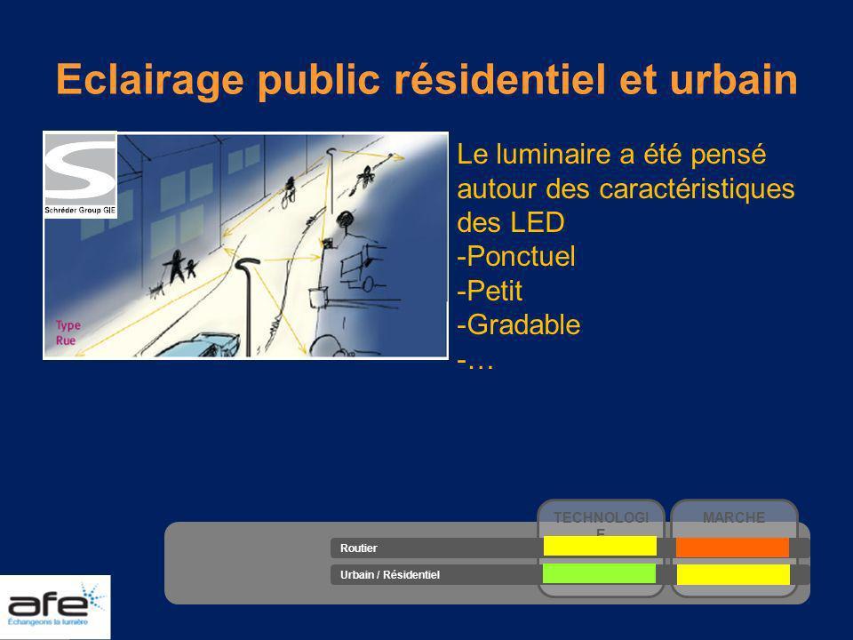 Eclairage public résidentiel et urbain Le luminaire a été pensé autour des caractéristiques des LED -Ponctuel -Petit -Gradable -… TECHNOLOGI E MARCHE
