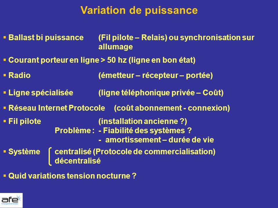 Variation de puissance Ballast bi puissance(Fil pilote – Relais) ou synchronisation sur allumage Courant porteur en ligne > 50 hz (ligne en bon état)