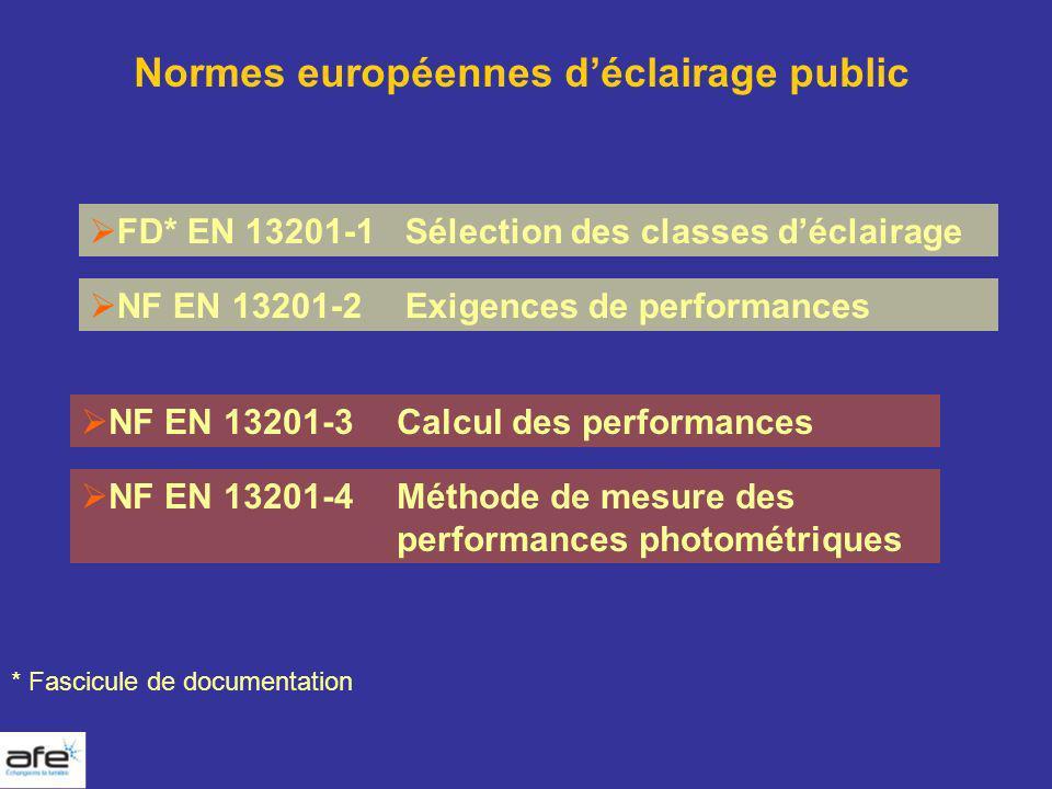 Normes européennes déclairage public FD* EN 13201-1 Sélection des classes déclairage NF EN 13201-2Exigences de performances NF EN 13201-3Calcul des pe