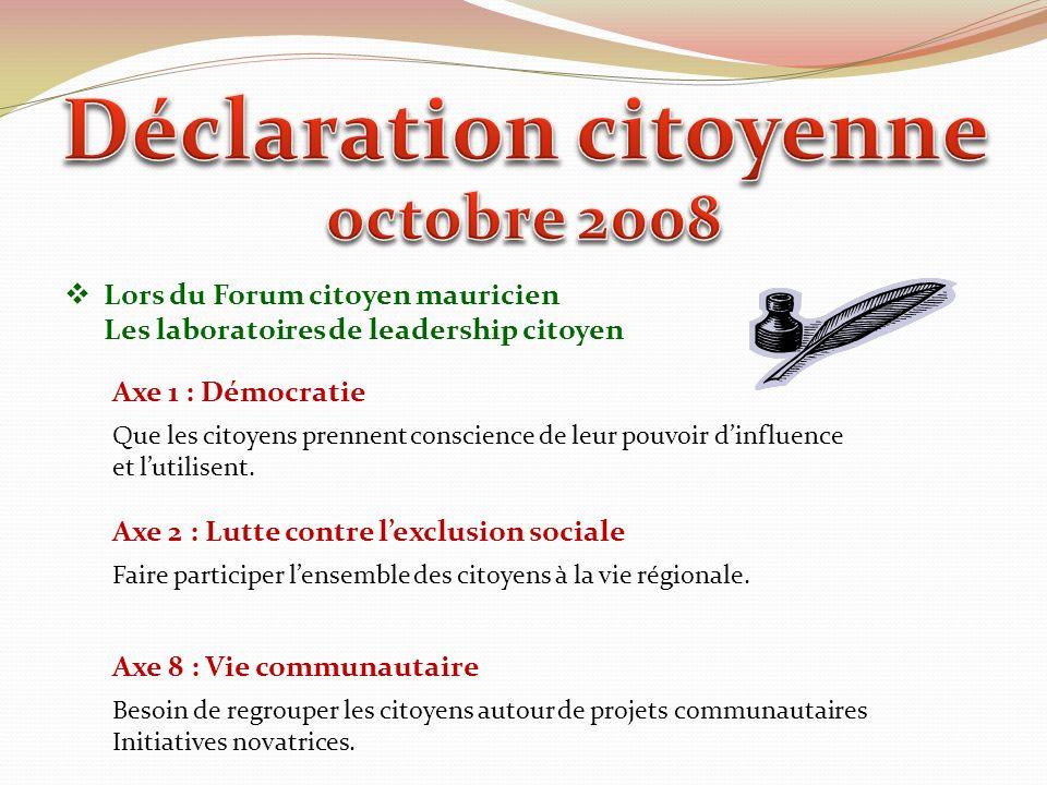 Lors du Forum citoyen mauricien Les laboratoires de leadership citoyen Axe 1 : Démocratie Que les citoyens prennent conscience de leur pouvoir dinfluence et lutilisent.